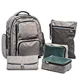 Large Capacity Diaper Bag Backpack- with YKK Zippers, Two Packing Cubes, Wet/Dry Bag, Changing Pad and Stroller Straps by Bably Baby- Stylish Unisex Design