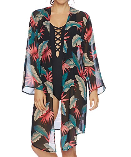 51pii5a7yXL Beautiful long kimono style cover up Flowing sleeves and a hi-lo hemline