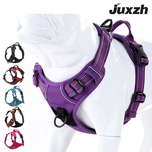 JUXZH Soft Front Dog Harness .Best Reflective No Pull Harness with Handle and Two Leash Attachments