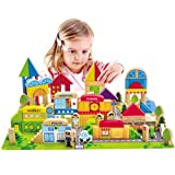Hape City Building Blocks Colored Wood Blocks with Playscape