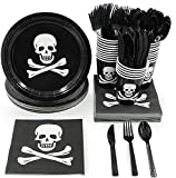 Juvale Pirate Skull and Crossbones Birthday Party Supplies - Serves 24 - Includes Plates, Knives, Spoons, Forks, Cups and Napkins