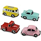 Jellydog Toy Pull Back Cars, 4 Pack Metal Die Cast Vehicles Set,Exquisite Mini Car Play Set, Pull Back Cars with Bus, Beetle,Pickup,Car ,Toy Car for Toddler Party Favors Xmas