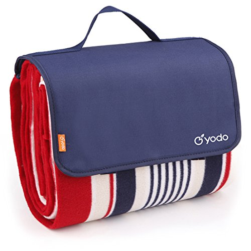 yodo Extra Large Outdoor Waterproof Picnic Blanket Tote 79' x 59'Light Weight with Soft Fleece and Padding,Spring Summer Navy Stripe