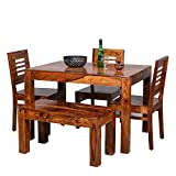 Furniture World Sheesham Wooden Dining Table 4 Seater   Dining Table Set with 3 Chairs & 1 Bench   Home Dining Room Furniture   Honey Finish