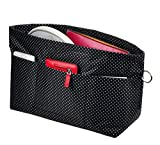Vercord Handbag Purse Tote Pocketbook Organizer Insert Zipper Closure 11 Pockets, Black Dots S
