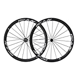 ICAN 700C Lightweight Road Bike Carbon Wheelset Clincher 38mm Basalt Brake Surface Rim Shimano 10/11 Speed 1420g (Classic Wheels)