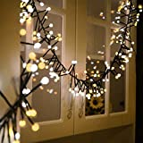 Quntis Christmas String Lights 10FT 400 LEDs Waterproof Globe Fairy Valentines Day String Lights Indoor 8 Flash Modes for Wedding Party Backyard Patio Bedroom Home Outdoor Decor, Yellow and White