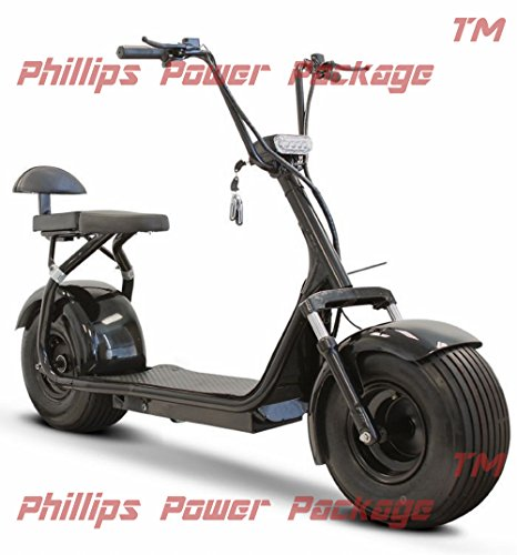 E-Wheels - Fat Tire Electric Scooter - 2-Wheel - Black - PHILLIPS POWER PACKAGE TM - TO $500 VALUE