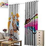 Beihai1Sun Window Curtain Scenery Print Grunge Music People with Turntable and Speakers Dancing Funky Urban Nights Guitar Print Multicolor Office Hotel Home Wall Tapestry W108 x H84