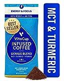 VitaCup Genius Keto Coffee Ground Bags 12oz MCT, Turmeric & Cinnamon   Energy & Focus  Smart Coffee  Paleo   Whole 30   Vitamins B1, B5, B6, B9, B12, D3   for Drip Coffee Brewers & French Press