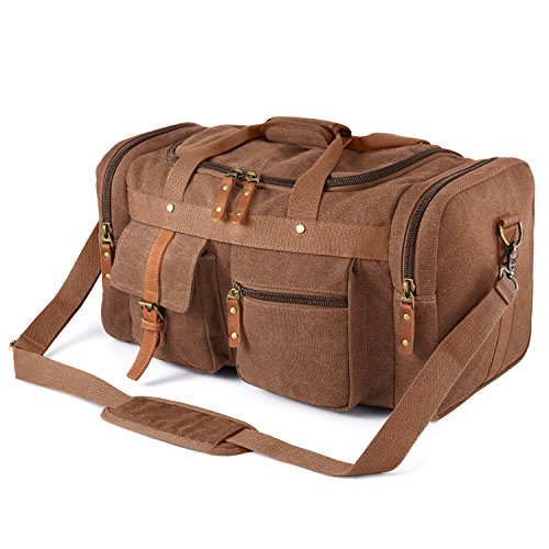Plambag Large Canvas Duffel Bag Overnight Travel Tote Weekend Bag(Coffee)