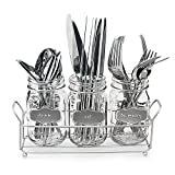 3-pc Mason Jar Flatware Caddies 17-Oz. with Silver Metallic Chalkboard in Metal Caddy, Lightweight Space-Saver Set
