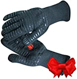 GRILL HEAT AID Extreme Heat Resistant BBQ Gloves. High Dexterity Handling Hot Food Right on Cast Iron, Barbecue or Smoker. Multi-Purpose Fireproof Indoor Outdoor Use For Men and Women. One Size, Black