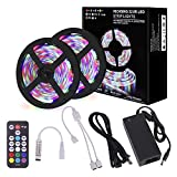Richsing LED Strip Lights 32.8ft Waterproof Flexible Rope Lights RGB SMD2835 600LEDs 2-Pack with 12V Power Adapter 18Key RF Remote for Home Garden Party Outdoor