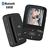 MP3 Player with Bluetooth,16GB Clip Bluetooth MP3 Player with FM Radio Voice Record Mini Size Music Player,Micro SD Card Support 64GB-Black from ChenFec