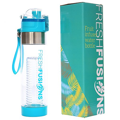 Fresh Fusions Fruit Infuser Water Bottle 24 oz (Teal) Infusion Water Bottle For Sports Hydration - Comes With Insulated Sleeve + Bonus eBook w/ 25 Healthy Recipes