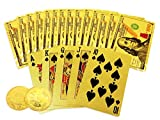 Big Texas Mall 24k Gold Poker Playing Cards w/Gold Plated Collectible Bitcoin Coin for Place Setting Cards Real Gold Standard Professional Quality Ben Franklin 100 Bill Gold Foil Plated Prestige Set