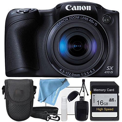 Canon PowerShot SX410 IS Black Camera, 16GB SD SDHC Class 10 High Speed Memory Card, USB SD Card Reader, Table Top Tripod, LCD Screen protector and Table Top Tripod