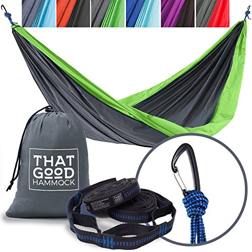 THAT GOOD HAMMOCK Double Camping Hammock w/ Hammock Straps & Wiregate Carabiners. Portable Nylon Parachute Hammock for Backpacking Camping & Travel (Light Grey & Apple Green)