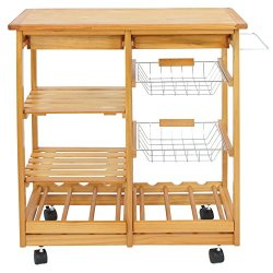 Nova Microdermabrasion Rolling Wood Kitchen Island Storage Trolley Utility Cart Rack w/Storage Drawers/Baskets Dining Stand w/Wheels Countertop (Wood) (Wood Top)