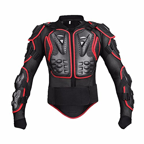 Motorcycle Full Body Armor Protective Jacket Guard ATV Motocross Gear Shirt Red Size L Fit For Motorbike Standard Sport ATV Quad Dirt Bike Car