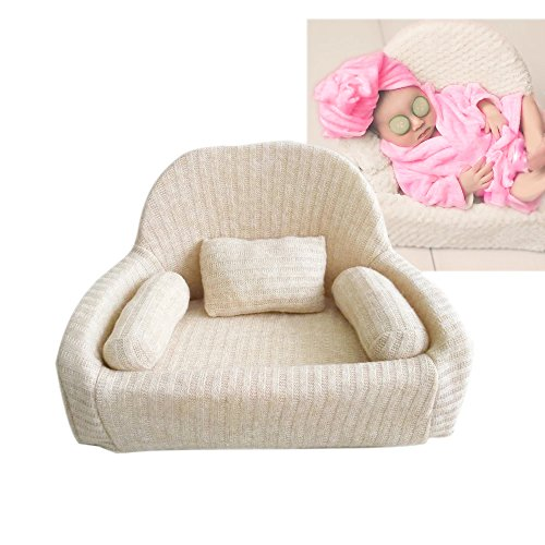 Couch Photography Props for Newborns 0-3 Months Professional Posing Aid Sofa Chair Pose Pillow Beans (Beige)