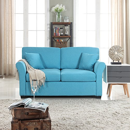 DIVANO ROMA FURNITURE Classic and Traditional Ultra Comfortable Linen Fabric Loveseat - Living Room Fabric Couch (Blue)
