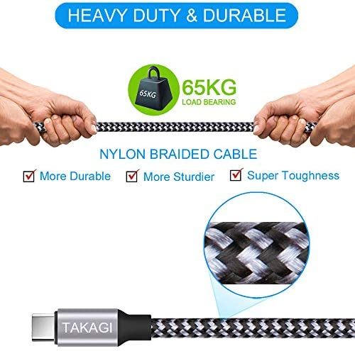 USB Type C Cable 3A Fast Charging, TAKAGI (3-Pack 6feet) USB-A to USB-C Nylon Braided Data Sync Transfer Cord Compatible with Galaxy S10 S10E S9 S8 S20 Plus, Note 10 9 8 and Other USB C Charger 15