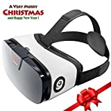 """VR Headset - Virtual Reality Goggles by VR WEAR 3D VR Glasses for iPhone 6/7/8/Plus/X & Samsung S6/S7/S8/Note and other Android Smartphones with 4.5-6.3"""" Screens + 2 Stickers"""
