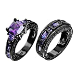 European Style Amethyst Two Pieces Promise Rings for Couples Black Gold Plated Women Sz-6 & Men Sz-11