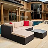 5 Pieces Patio Furniture Sectional Set Outdoor All-Weather PE Rattan Wicker Lawn Conversation Sets Cushioned Garden Sofa Set with Glass Coffee Table (Brown)