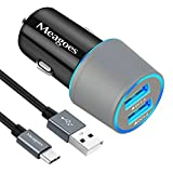 Meagoes Fast Car Charger, Compatible Samsung Note 9/Note 8, Galaxy S10 Plus/S10/S10e/S9 Plus/S9/S8+/S8, LG V40 ThinQ/G7, Dual Quick Charge 3.0 Port, Rapid Charging Car Adapter with 3.3ft USB C Cable