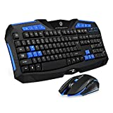 F1 Wireless Keyboard Mouse Combo, 2.4GHz Full Size Waterproof Keyboard and Optical Wireless Gaming Mouse Set Compatible with PC, Laptop, Notebook, Desktop, Computer (Blue)