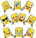 BeeGreen Emoji Party Supplies Favor Bags Drawstring Backpacks for Kids Teens Boys and Girls Birthday Party Goody Gift Bags 10 Pack