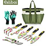 Eslibai Garden Tools Set, 9 Gardening Tools with Soft Garden Gloves and Beautiful Garden Tote Fairy Gardening Gifts Set with Non-Slip Comfortable Handle with Garden Trowel and More