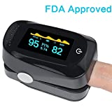 Fingertip Pulse Oximeter Portable Digital Blood Oxygen SPO2 Pulse Sensor Meter with Alarm and Pulse Rate Monitor for Adults and Children (Black)