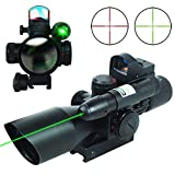 UUQ 2.5-10x40 Clarity+ Combo Rifle Scope Dual Illuminated Mil-dot W/Green Light and Mini Reflex 3 MOA Red Dot Sight (12 Month Warranty)