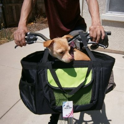 FineHome 3-in-1 Small Pet Dog Puppy Bicycle Basket, Car Seat and Hand Carrier Travel Bag Attached Rain Covers