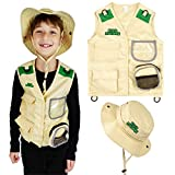Kidz Xplore Outdoor Adventure Kit for Young Kids - Cargo Vest and Hat Set Backyard Explorer Safari Costume and Dress Up for Park Ranger, Paleontologist, Zoo Keeper Kid and Scavenger Hunt