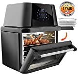 NutriChef PKAIRFR96 1800-Air High Power Air Fryer Plus Food Dehydrator And Rotisserie Oven Combo, (L x W x H): 11.8'' x 9.8'' x 7.5'', Black