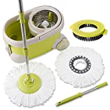 Topmop Deluxe Stainless Steel Rolling Spin Mop and Bucket -2017 Upgraded Model - Includes 2 Microfiber Heads and 1 Scrub Brush, Extended Length Handle - Lime