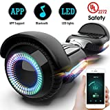 Gyroor T580 Hoverboard Self Balancing Scooter with Music Speaker LED Lights, 6.5 inch Two-Wheel Electric Scooter for Kids Adult - UL2272 Certificated (Black)
