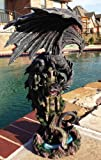 "Ebros Large 23.5"" Tall Ancient Black Dragon Guarding Castle Rampart ATOP A Rocky Cliff Statue Mythical Fantasy Home Decor (Black Rampart Dragon)"
