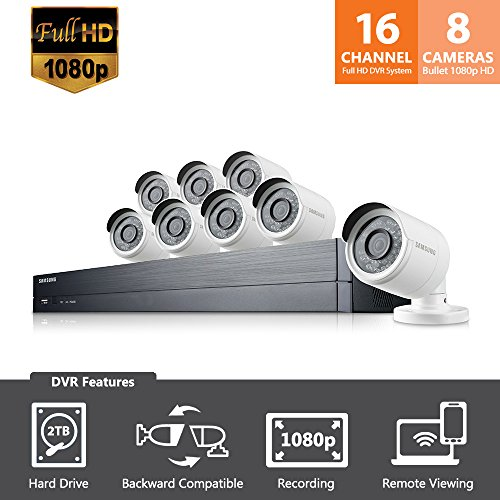 SDH-C75083 - Samsung Wisenet 16 Channel Full HD Video All-in-One Security System with 8 Bullet Cameras