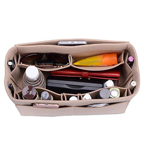 Felt Purse Organizer, Multi Pocket Bag in Bag Organizer For Tote & Handbag Shaper, Speedy 30, Speedy 35 and Speedy 40, Large, Beige