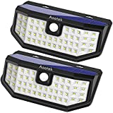Aootek Solar outdoor motion sensor lights upgraded Solar Panel to 15.3 in² and 3 modes (Security/ Permanent On all night/ Smart brightness control )  with IP65 Waterproof with Wide Angle.(2 pack)
