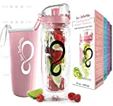 Live Infinitely 32 oz. Fruit Infuser Water Bottles with Time Marker, Insulation Sleeve & Recipe eBook - Fun & Healthy Way to Stay Hydrated (Rose Gold Timeline)