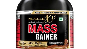 MuscleXP Mass Gainer – With 26 Vitamins and Minerals, Digestive Enzymes, Double Chocolate, 1kg (2.2 lb)