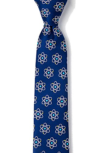 Men's Microfiber Atomic Nucleus Physics Novelty Skinny Narrow Tie Necktie (Navy Blue)