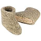 Heller Vertrieb 100% Pure Sheep Wool Slippers Cosy House Shoes Boots Men's 11-12 (XL) Grey